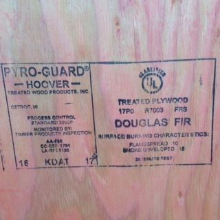 1/2  4 x 8 cdx interior fire treated (pyroguard) Plywood