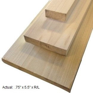 1 x 6 poplar board per linear ft