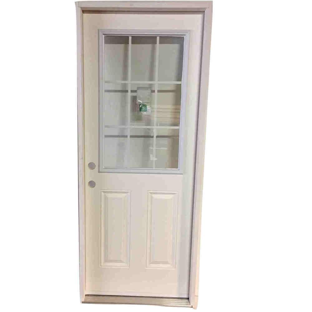 2-8 X 6-8 9 LITE INTERNAL GRID FIBERGLASS S&D RH DOOR