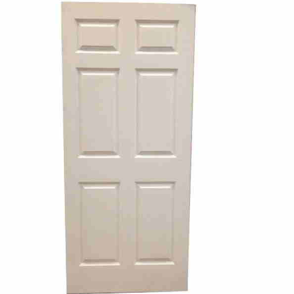 1 3/4 2-6 X 6-8 SOLID CORE 6 PANEL PRIMED HARDBOARD SMOOTH DOOR SLAB