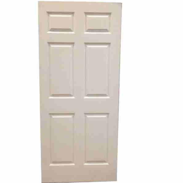 1 3/4 3-0 X 6-8 SOLID CORE 6 PANEL PRIMED HARDBOARD SMOOTH DOOR SLAB