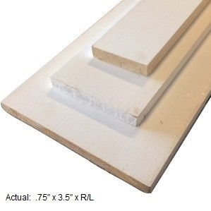1 x 4 primed board per linear ft